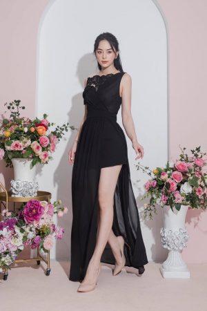 Đầm dạ hội xẻ tà đính ngọc rớt vai