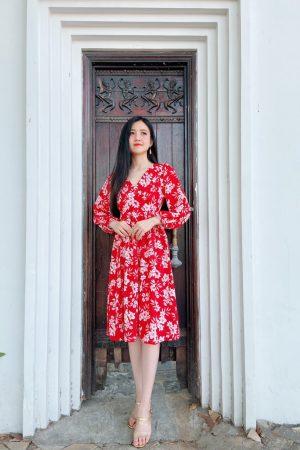 Đầm Hoa Nhí Tay Dài Duyên Dáng