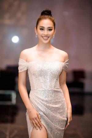 Đầm dạ hội kim sa trễ vai nhúng eo