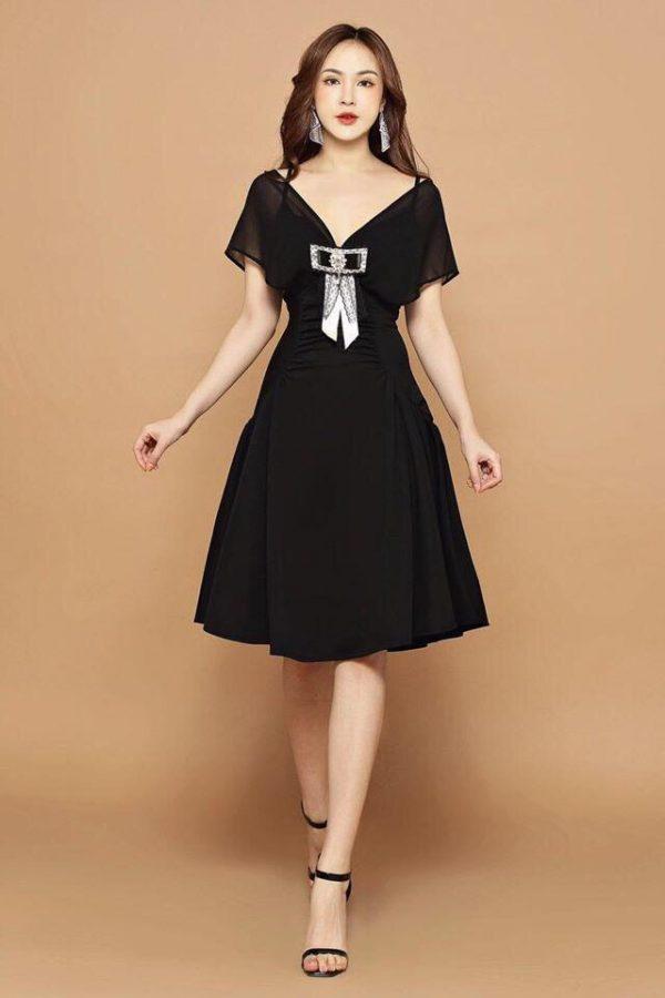 Đầm Xòe Xếp Ly Sườn Váy Kèm Tag